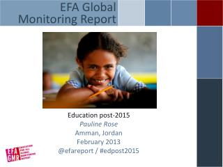 Education post-2015 Pauline Rose Amman, Jordan February 2013 @ efareport  / #edpost2015