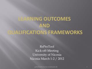 ReProTool Kick-off-Meeting University of  Nicosia Nicosia March 1-2 / 2012