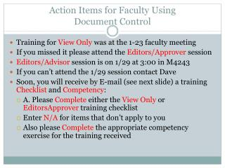Action Items for Faculty Using  Document Control