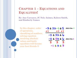 Chapter 1 – Equations and Equalities!