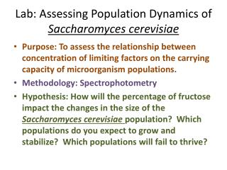 Lab: Assessing Population Dynamics of  Saccharomyces  cerevisiae