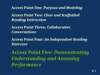Access Point One:  Purpose and Modeling