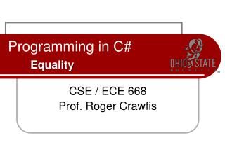Programming in C# Equality