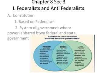 Chapter 8 Sec 3 I. Federalists and Anti Federalists