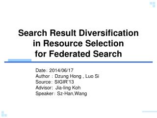 Search Result Diversification in Resource Selection  for Federated  Search