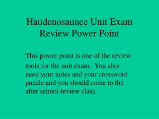 Haudenosaunee Unit Exam Review Power Point