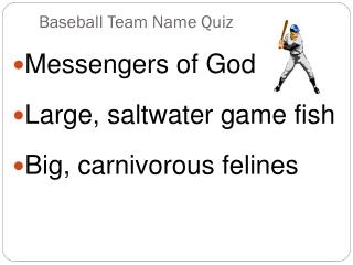 Baseball  Team Name Quiz