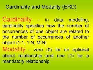 Cardinality and Modality (ERD)