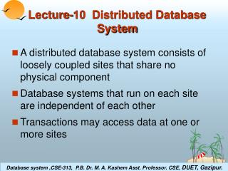 Lecture-10  Distributed Database System