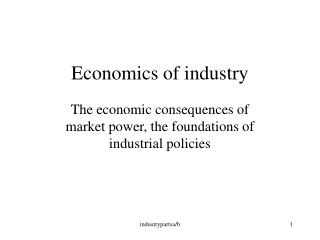 Economics of industry