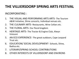 THE VILLIERSDORP SPRING ARTS FESTIVAL