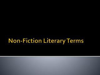 Non-Fiction Literary Terms
