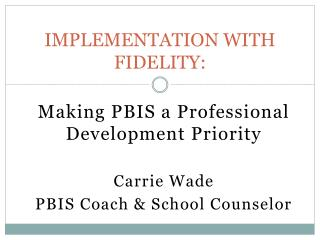 IMPLEMENTATION WITH FIDELITY:
