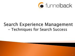 Search Experience Management  - Techniques for Search Success