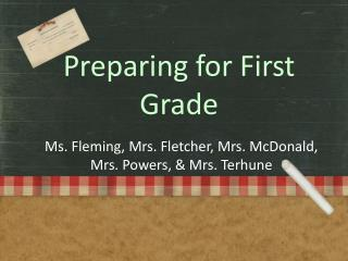 Preparing for First Grade
