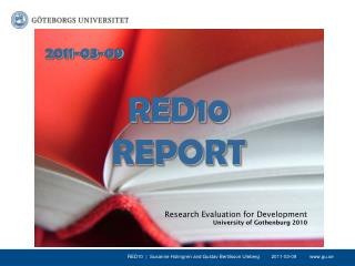 Research Evaluation for Development University of Gothenburg 2010