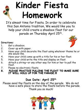 Kinder Fiesta Homework