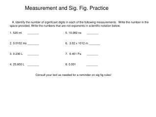 Measurement and Sig. Fig. Practice