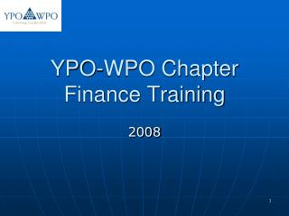 YPO-WPO Chapter Finance Training