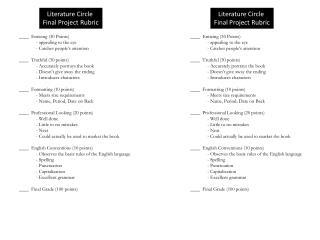 Literature Circle Final Project Rubric