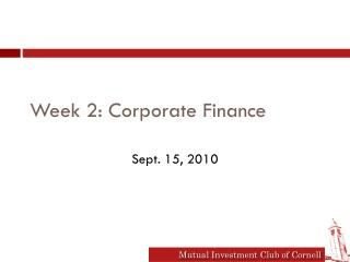Week  2: Corporate Finance