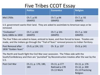 Five Tribes CCOT Essay