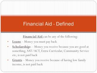 Financial Aid - Defined