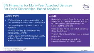 0% Financing for Multi-Year  Attached Services  For  Cisco Subscription-Based Services