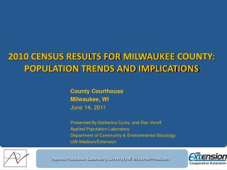 2010 Census Results for  milwaukee  county: population trends and implications