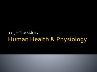 Human Health & Physiology