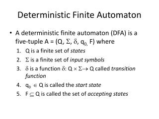 Deterministic Finite Automaton