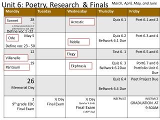 Unit 6:  Poetry , Research  & Finals