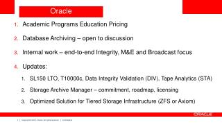 Academic Programs Education Pricing  Database  Archiving – open to discussion