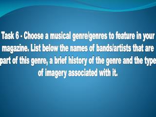 Task 6 - My Musical Genre