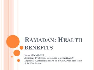 Ramadan: Health benefits