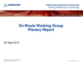 En-Route Working Group Plenary Report