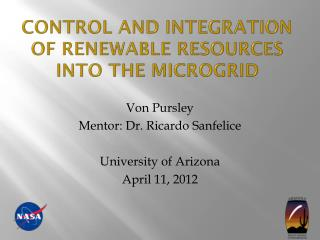 Control and integration of renewable resources into the  microgrid