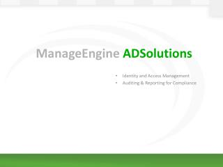 ManageEngine  ADSolutions