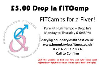 £5.00 Drop In FITCamp