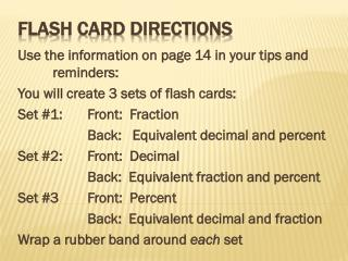 Flash Card Directions