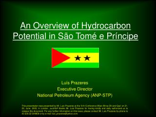 An Overview of Hydrocarbon Potential in S o Tom  e Pr ncipe