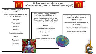 Biology transition 'takeaway' work - Choose a starter, main and  dessert !!!!  (and enjoy!!)