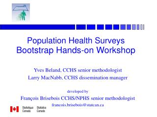 Population Health Surveys Bootstrap Hands-on Workshop