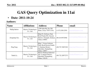 GAS Query Optimization  in 11ai