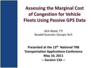 Assessing the Marginal Cost of Congestion for Vehicle Fleets Using Passive GPS Data