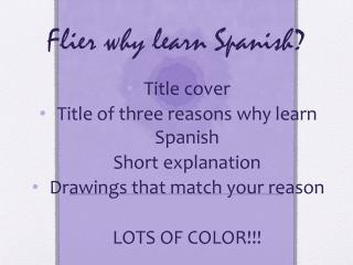 Flier why learn Spanish?