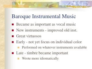 Baroque Instrumental Music