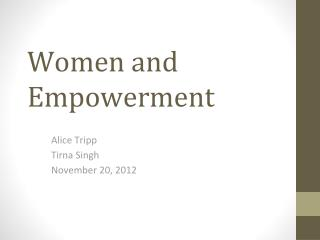Women and Empowerment