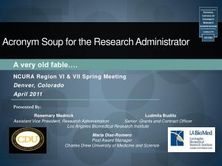 Acronym Soup for the Research Administrator