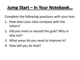Jump Start – In Your Notebook…